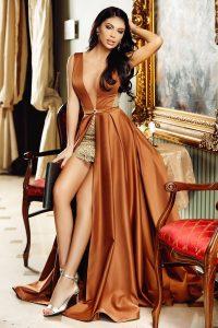 Rochie lunga cu fusta scurta din tafta