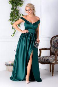 Rochie lunga verde de seara