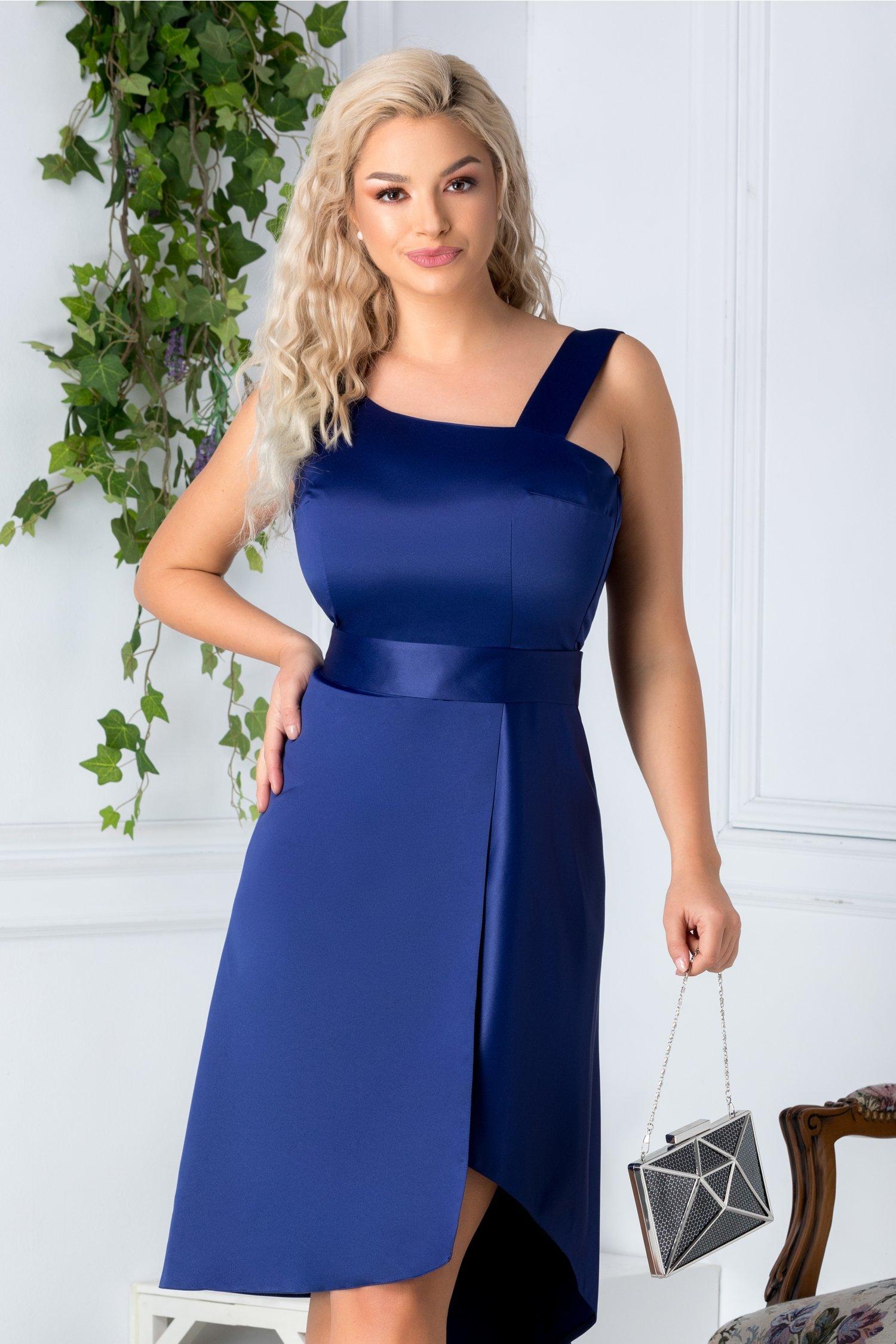 Rochie Elsa eleganta bleumarin cu cordon in talie