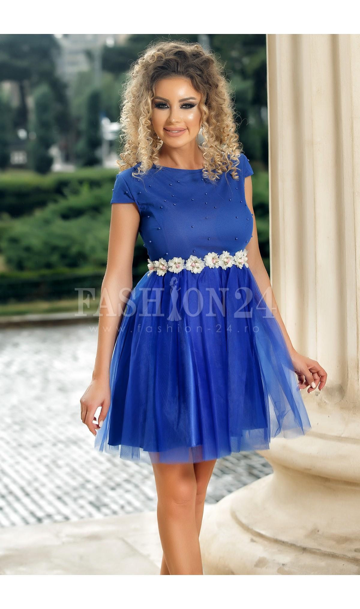 Rochie de seara albastra Romina cu tul si broderie