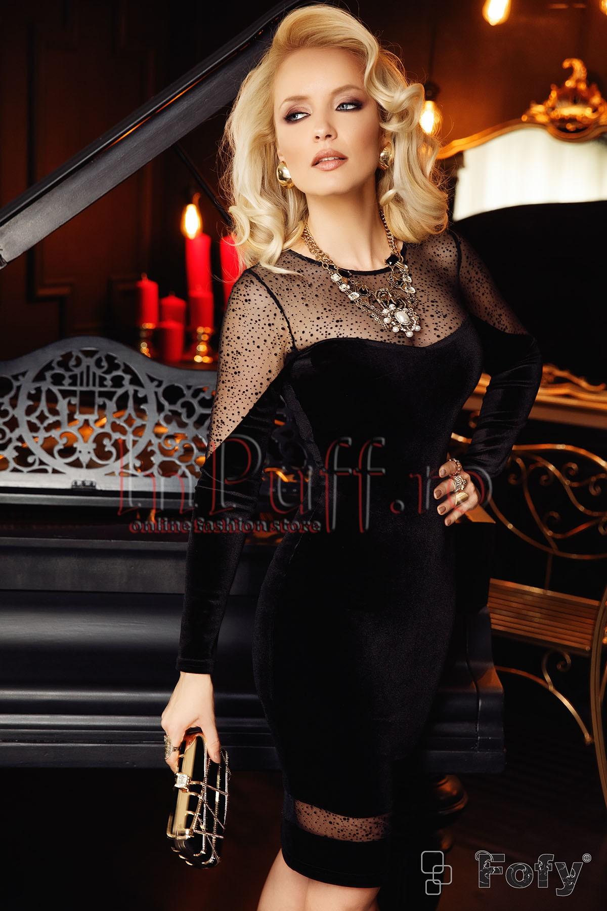 Rochie Fofy de seara midi conica din catifea neagra