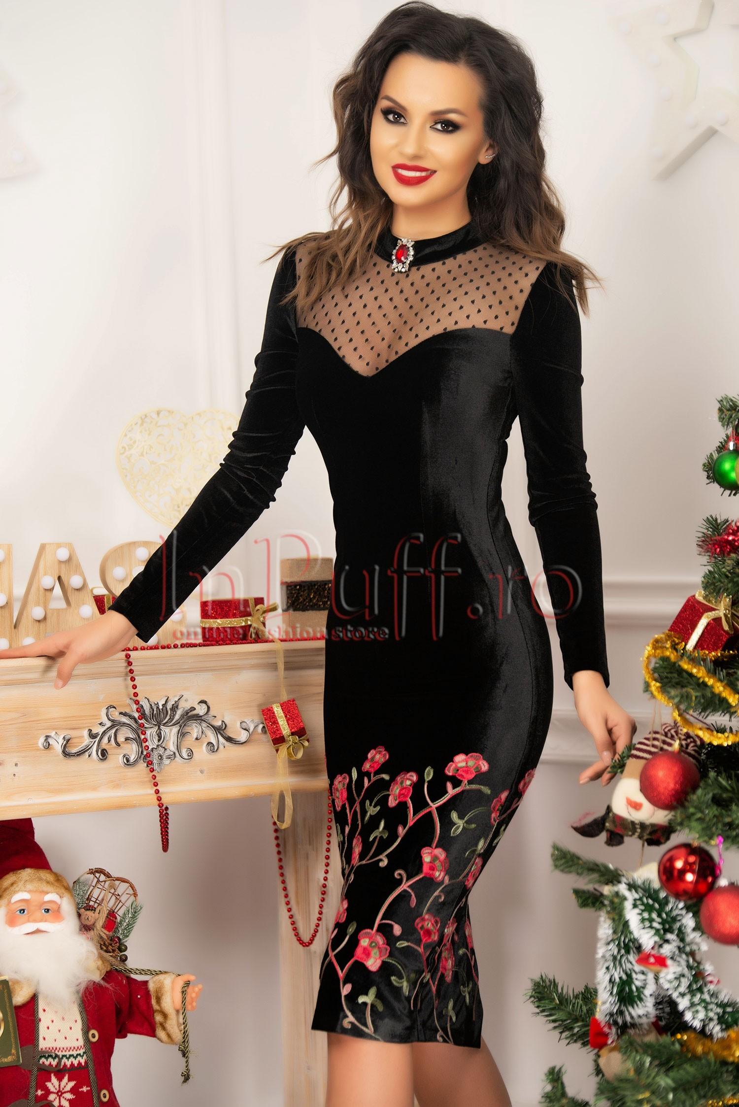 Rochie de seara conica midi din catifea neagra cu broderie rosie
