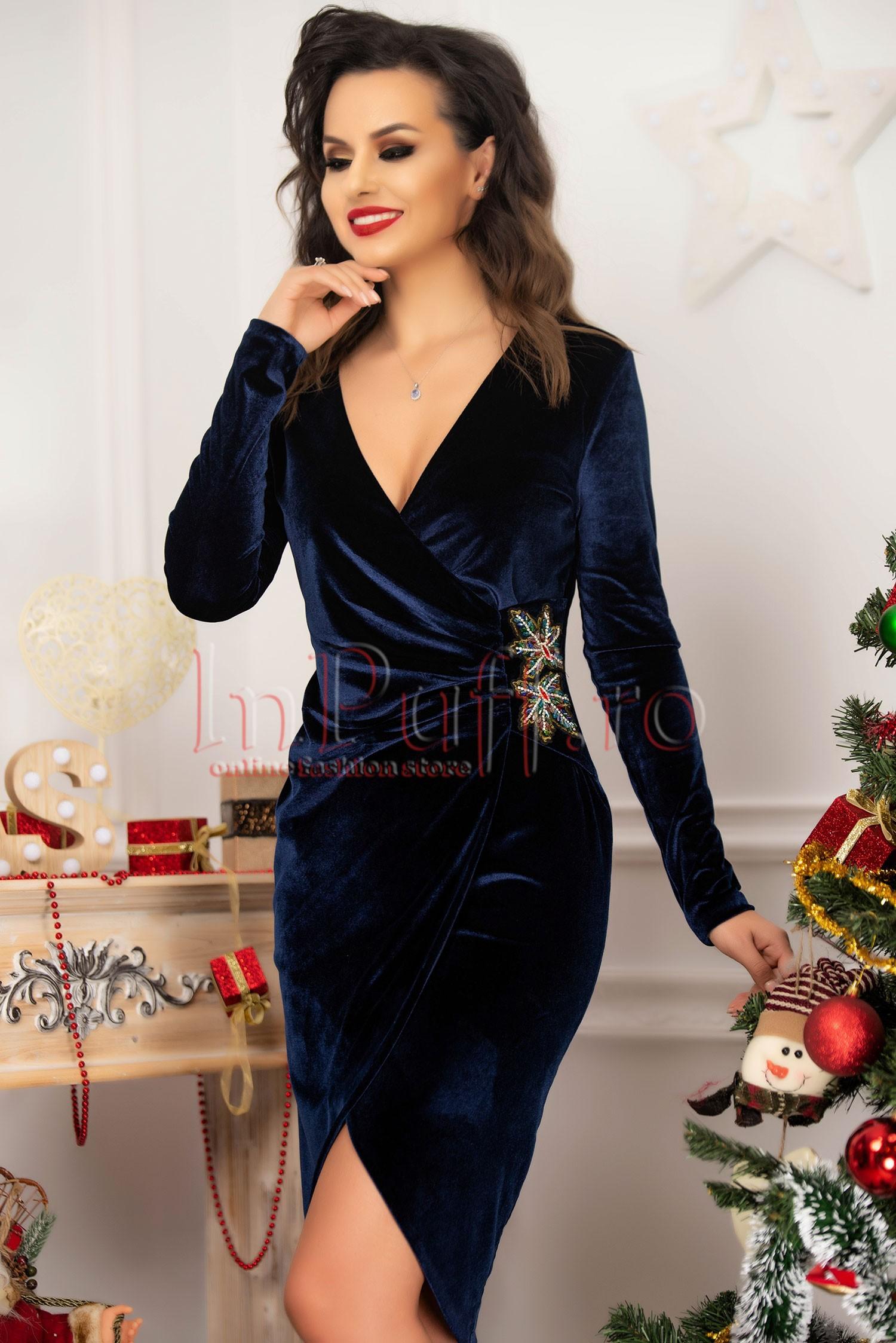 Rochie de seara midi din catifea bleumarin petrecuta