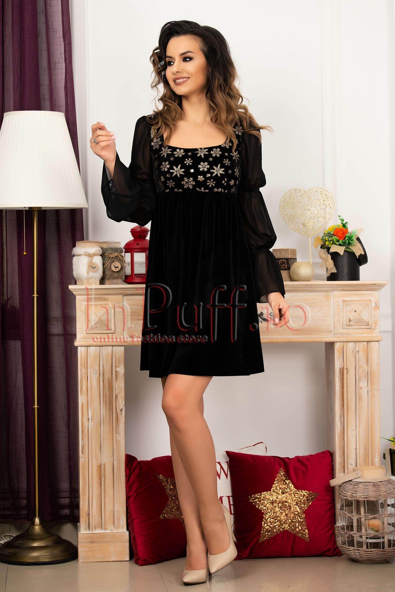 Rochie de seara neagra din catifea cu maneca lunga