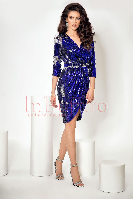 Rochie eleganta de seara Atmosphere cu paiete albastre