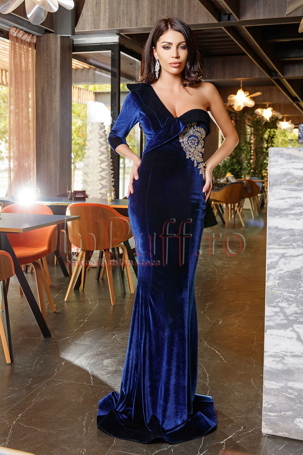 Rochie lunga Atmosphere din catifea si broderie aurie