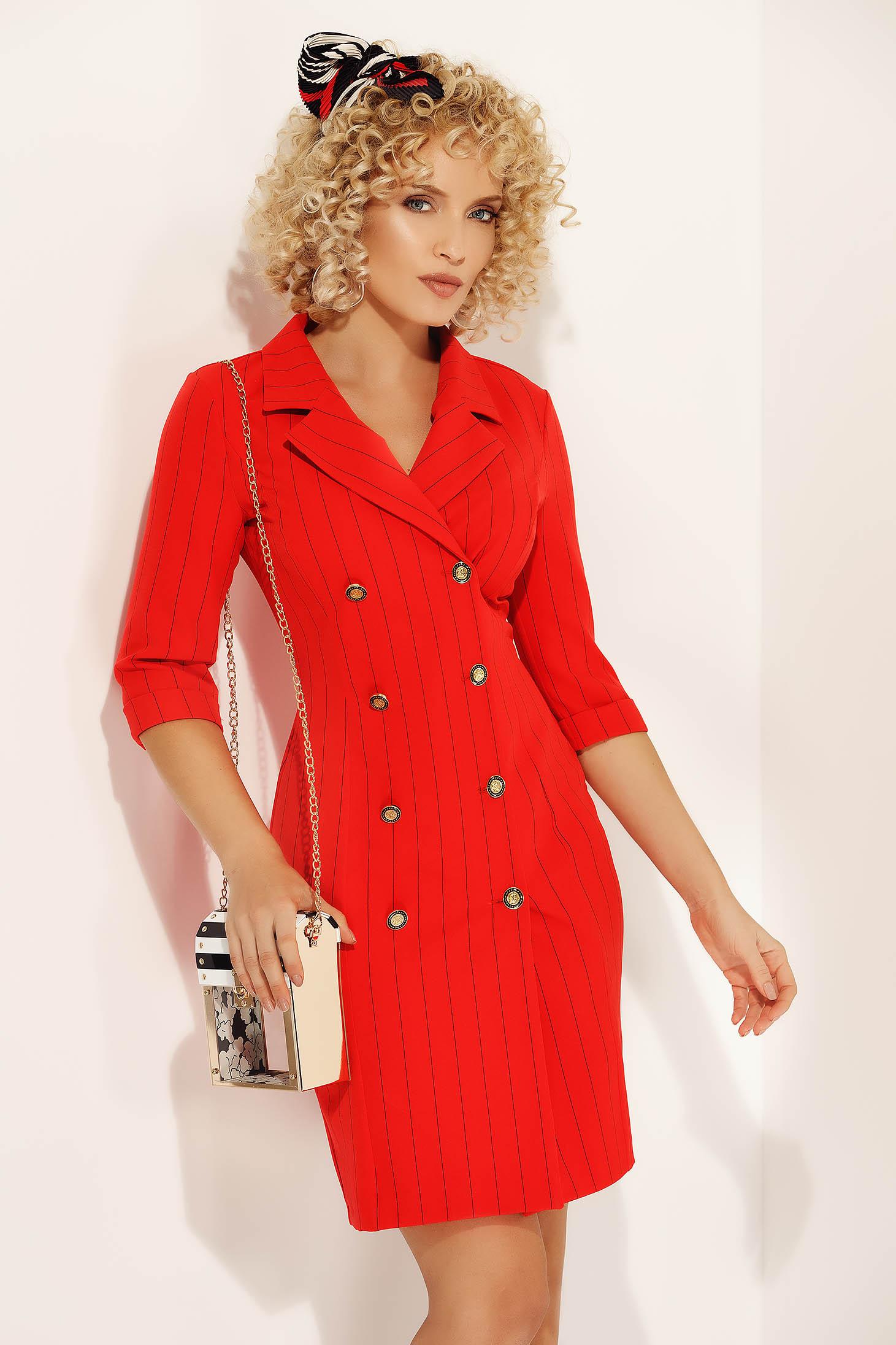 Rochie Fofy rosie eleganta scurta office tip sacou din material usor elastic cu decolteu in v