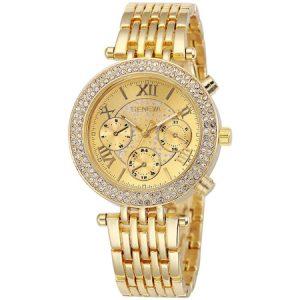 Ceas dama Quartz Geneva casual, elegant G5657 auriu cu cristale, curea metal
