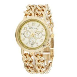 Ceas de dama Geneva, metalic, cu bratara din 2 lanturi, auriu, cutie eleganta cadou