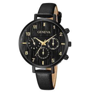 Ceas unisex casual, Elegant Quartz Geneva model Premium G190-3, curea piele, afisaj analog